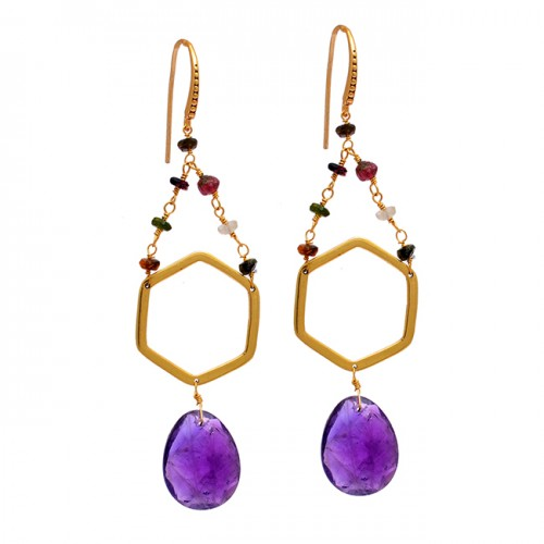 Amethyst Tourmaline Gemstone 925 Sterling Silver Gold Plated Dangle Earrings