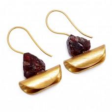 925 Sterling Silver Garnet Rough Gemstone Gold Plated Handmade Earrings