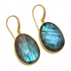 Oval Shape Labradorite Gemstone 925 Sterling Silver Gold Plated Dangle Earrings