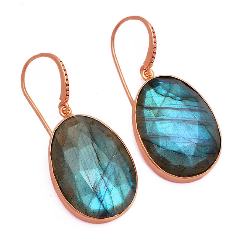 Oval Shape Labradorite Gemstone 925 Sterling Silver Gold Plated Dangle Earrings
