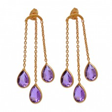 Pear Shape Amethyst Gemstone 925 Sterling Silver Gold Plated Stud Earrings