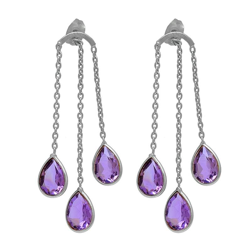 Pear Shape Amethyst Gemstone 925 Sterling Silver Gold Plated Stud Earrings