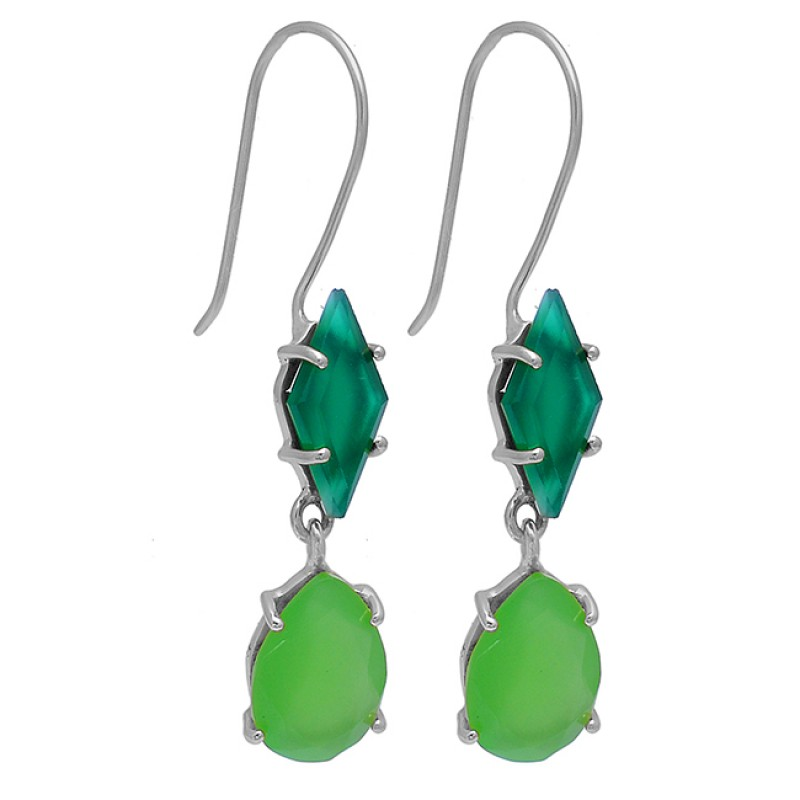 Green Onyx Chalcedony Gemstone 925 Sterling Silver Gold Plated Earrings