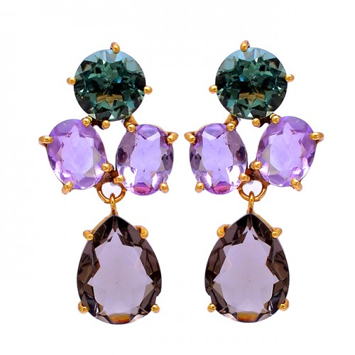 Green Amethyst Smoky Quartz Gemstone 925 Silver Gold Plated Stud Earrings