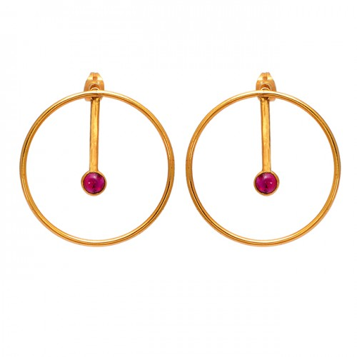 Round Shape Tourmaline Gemstone 925 Sterling Silver Gold Plated Stud Earrings