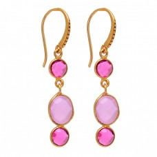 Pink Quartz Rose Chalcedony Gemstone 925 Sterling Silver Gold Plated Earrings