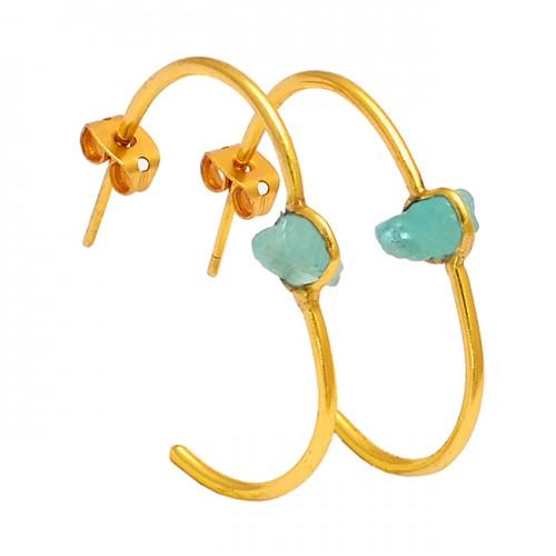 925 Sterling Silver Aquamarine Rough Gemstone Gold Plated Hoop Earrings
