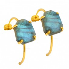 Fancy Shape Labradorite Gemstone 925 Sterling Silver Gold Plated Hoop Earrings
