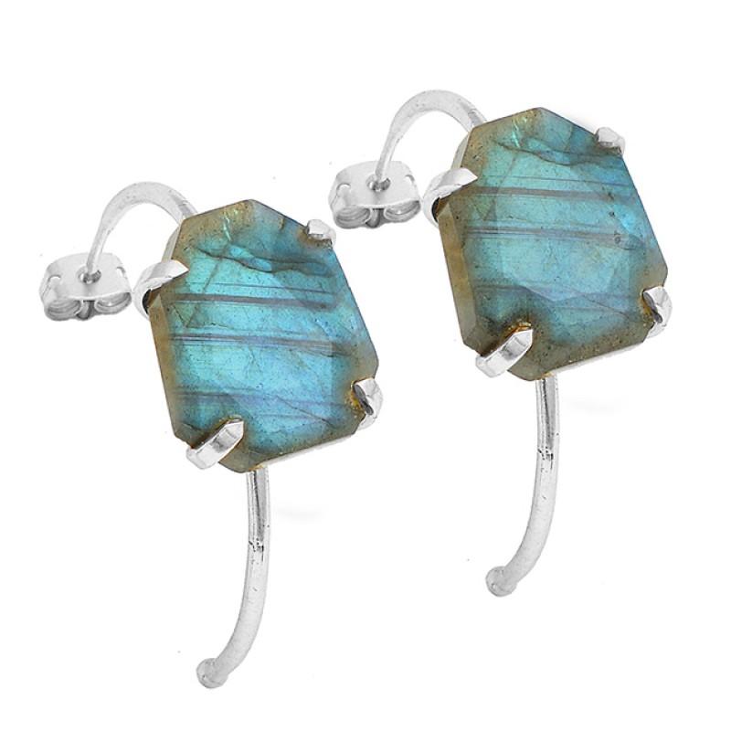 Fancy Shape Labradorite Gemstone 925 Sterling Silver Gold Plated Hoop Earrings