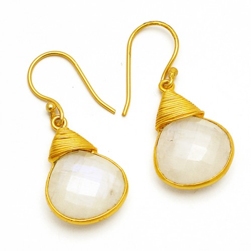 Handmade Designer Briolette Heart Shape Gemstone 925 Sterling Silver Gold Plated Dangle Earrings Jewelry
