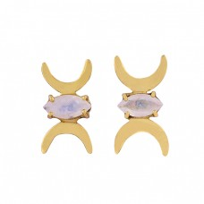 Moon Shape Designer Marquise Shape Gemstone 925 Silver Gold Plated Earrings
