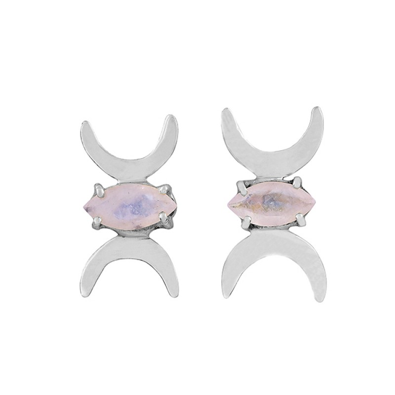 Moon Shape Designer Marquise Shape Gemstone 925 Silver Gold Plated Earrings