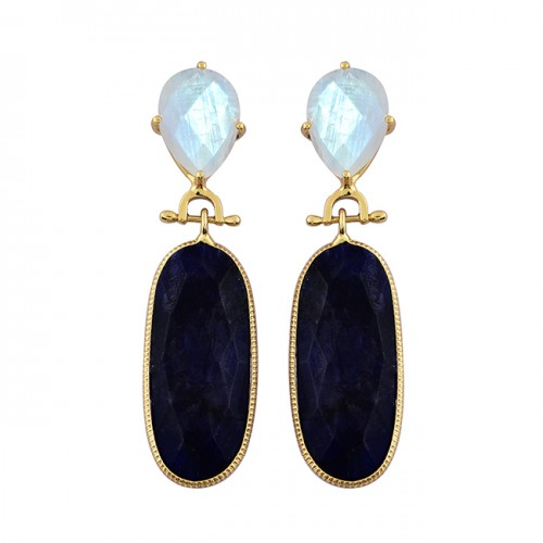 Sapphire Rainbow Moonstone 925 Sterling Silver Gold Plated Stud Dangle Earrrings