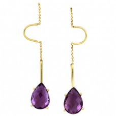 925 Sterling Silver Pear Shape Amethyst Gemstone Gold Plated Stud Earrings