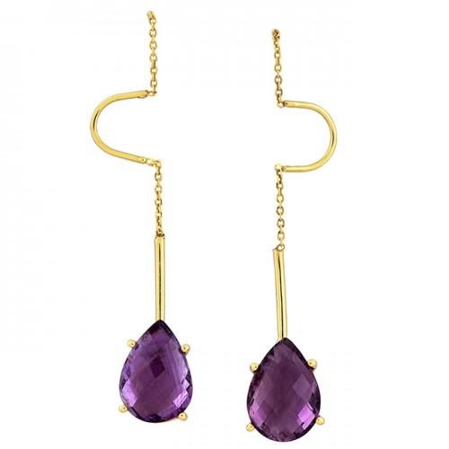 925 Sterling Silver Pear Shape Amethyst Gemstone Gold Plated Stud Earrings