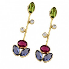 Peridot Tourmaline Blue Quartz Cz Gemstone Gold Plated Designer Earrings