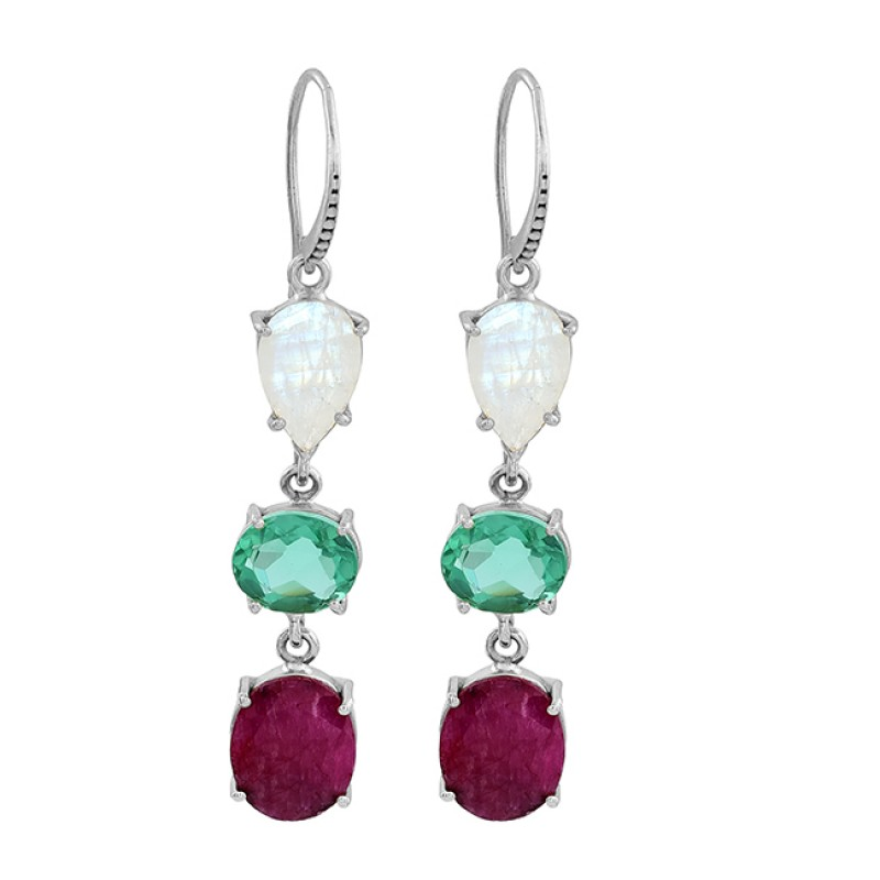 Apatite Ruby Moonstone 925 Sterling Silver Gold Plated Dangle Earrings