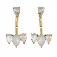 925 Sterling Silver Pear Shape Moonstone Gold Plated Stud Dangle Earrings