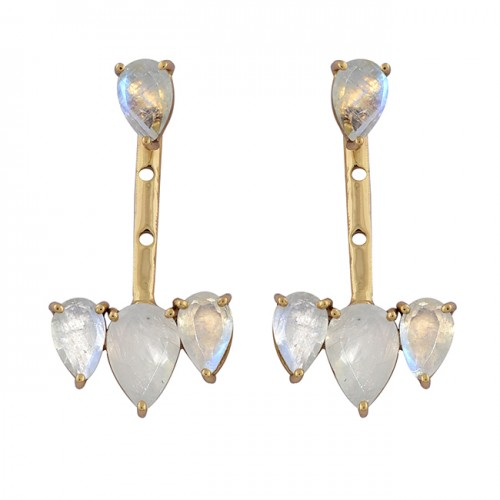 925 Sterling Silver Pear Shape Moonstone Gold Plated Stud Dangle Earrings
