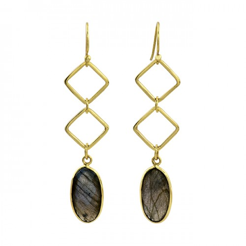 Labradorite Oval Shape Gemstone 925 Sterling Silver Gold Plated Earrings