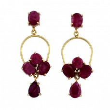925 Sterling Silver Ruby Gemstone Gold Plated Handmade Stud Dangle Earrings