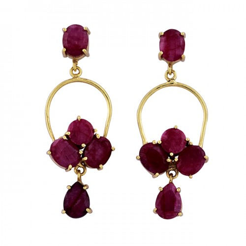 925 Sterling Silver Ruby Gemstone Gold Plated Handmade Stud Dangle Earrings