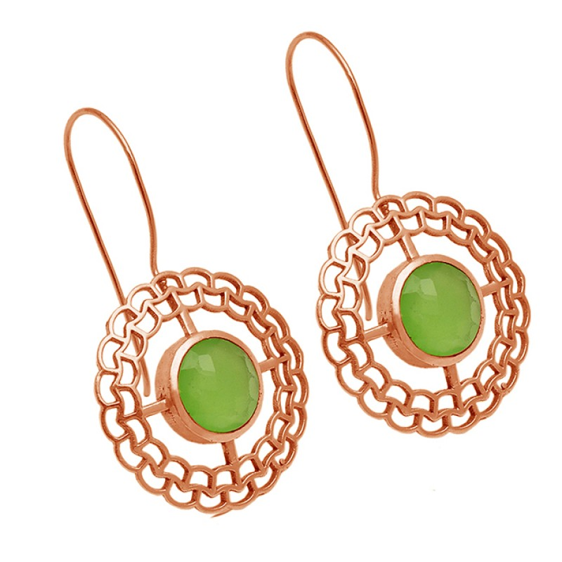 Filigree Designer Prehnite Chalcedony Gemstone 925 Sterling Silver Gold Plated Fixed Ear Wire Earrings