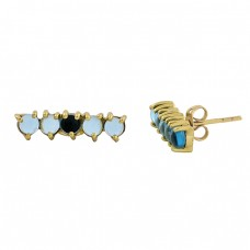 Blue Quartz Round Shape Gemstone 925 Sterling Silver Gold Plated Stud Earrings