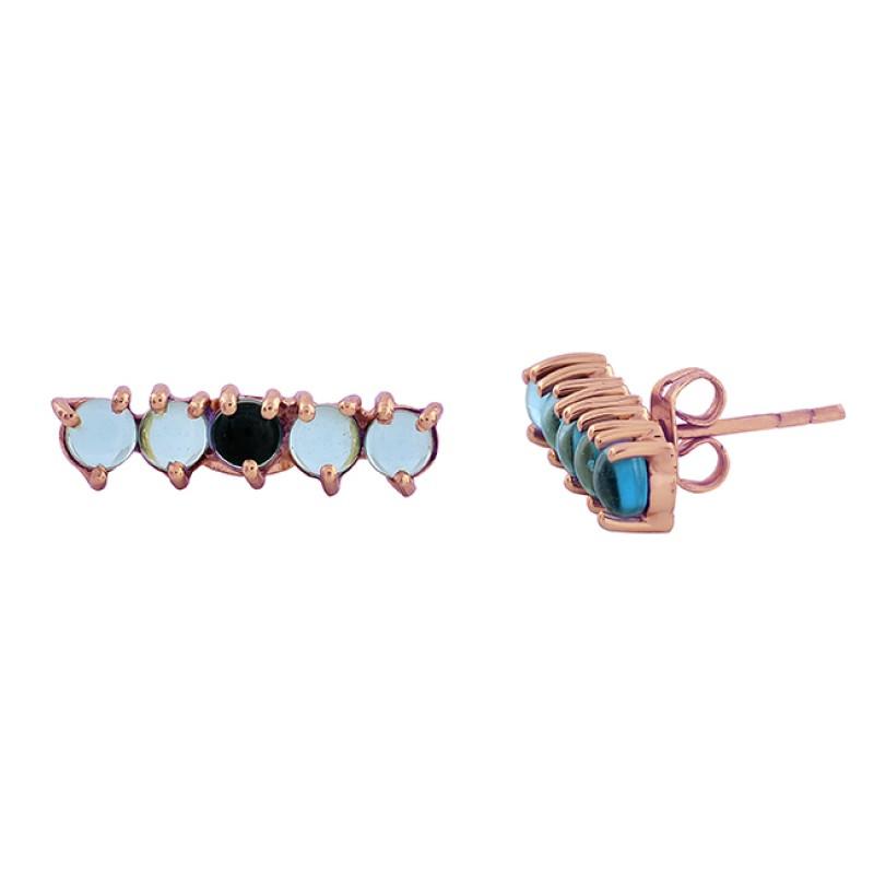 Blue Quartz Round Shape Gemstone 925 Sterling Silver Gold Plated Stud Earrings