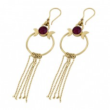 925 Sterling Silver Round Shape Ruby Gemstone Gold Plated Dangle Earrings