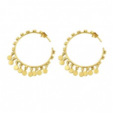 925 Sterling Silver Plain Handmade Designer Gold Plated Hoop Earrings