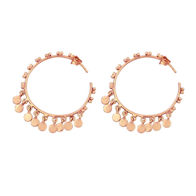 925 Sterling Silver Plain Handmade Designer Gold Plated Hoop Earrings