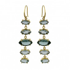 Green Amethyst Marquise Shape Gemstone 925 Silver Gold Plated Earrings