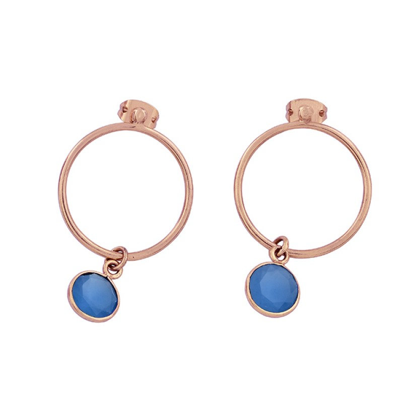 Blue Chalcedony Round Shape Gemstone 925 Silver Gold Plated Stud Earrings