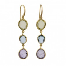 Lemon Quartz Blue Topaz Amethyst Gemstone 925 Silver Gold Plated Earrings