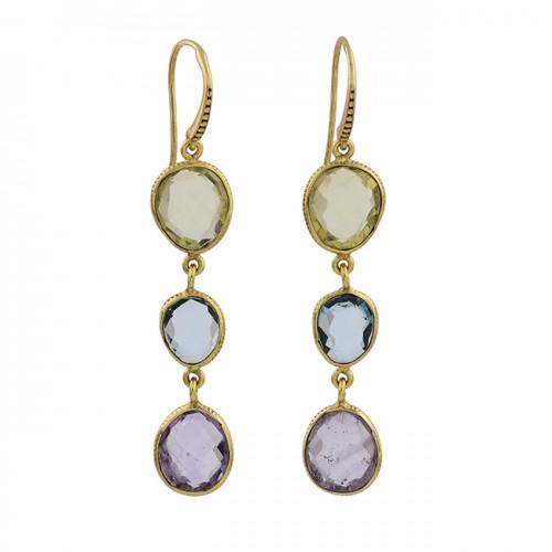 Lemon Quartz Blue Topaz Amethyst Gemstone 925 Silver Gold Plated Earrings