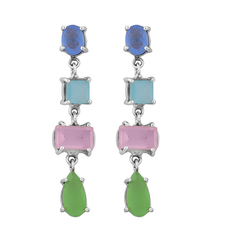 925 Sterling Silver Chalcedony Gemstone Gold Plated Prong Setting Earrings