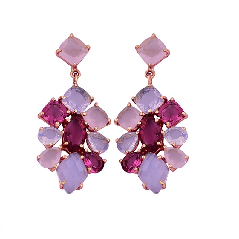 Chalcedony Moonstone Pink Quartz Gemstone 925 Silver Gold Plated Earrings