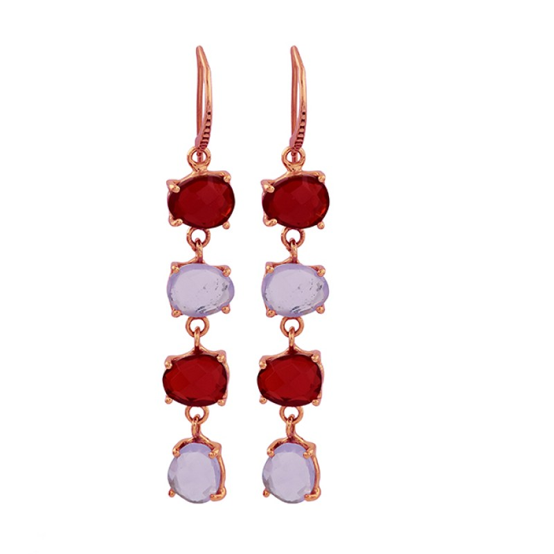 Garnet Moonstone 925 Sterling Silver Gold Plated Dangle Handmade Earrings