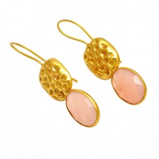 Briolette Oval Rose Chalcedony Gemstone 925 Sterling Silver Gold Plated Fixed Ear Wire Earrings