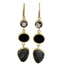 Smoky Quartz Black Onyx Druzy Gemstone 925 Silver Gold Plated Dangle Earrings