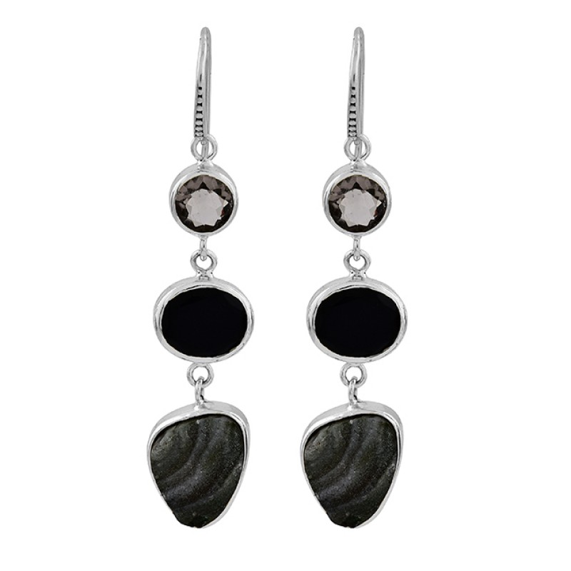 Smoky Quartz Black Onyx Druzy Gemstone 925 Silver Gold Plated Dangle Earrings