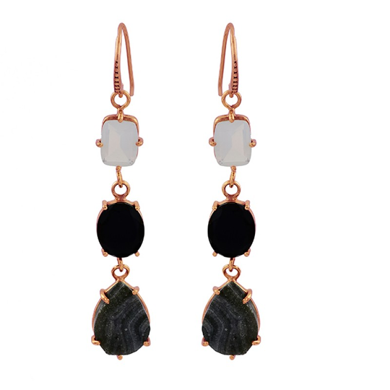 925 Sterling Silver Moonstone Onyx Druzy Gemstone Gold Plated Dangle Earrings