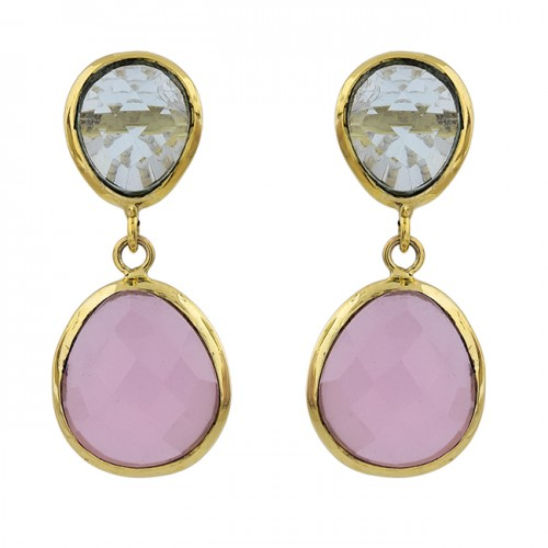 Blue Topaz Chalcedony Gemstone 925 Sterling Silver Gold Plated Stud Earrings