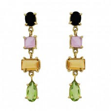 Onyx Chalcedony Citrine Peridot Gemstone 925 Silver Gold Plated Stud Earrings