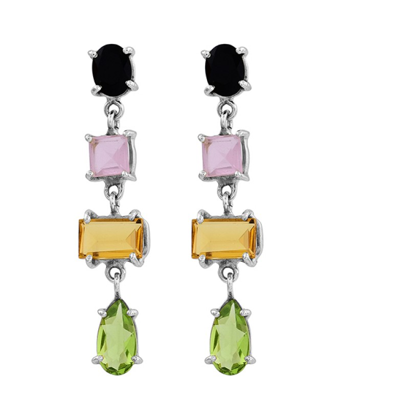 Onyx Chalcedony Citrine Peridot Gemstone 925 Silver Gold Plated Stud Earrings