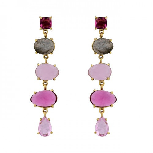 925 Sterling Silver Oval Pear Square Shape Gemstone Gold Plated Stud Earrings