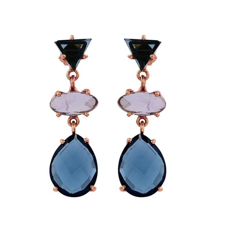 Blue Pink Color Quartz Gemstone 925 Sterling Silver Gold Plated Stud Earrings