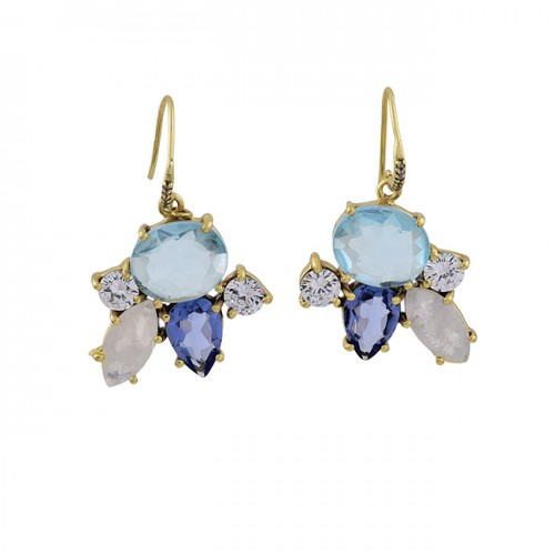 Tanzanite Moonstone Topaz Cz Gemstone 925 Silver Gold Plated Earrings