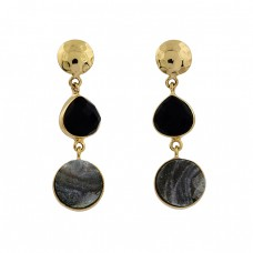 Black Onyx Druzy Gemstone 925 Sterling Silver Gold Plated Stud Dangle Earrings